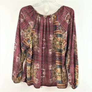Forever 21 tribal print puff long sleeves top